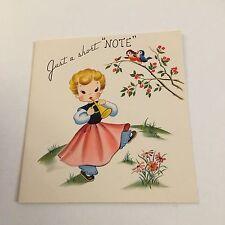 Vintage Greeting Card Note Cute Girl Dress Birds