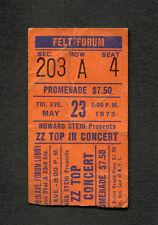 1975 Zz Top Concert Ticket Stub Felt Forum New York Fandango Tour