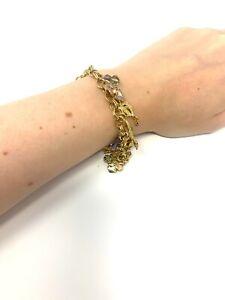 Nice Vintage Heavy Kirks Folly Costume Jewellery Charm Bracelet & 14 Charms #375