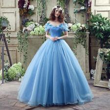 Sexy Off the Shoulder Princess Blue Puffy Wedding Dresses Bridal Gown Custom