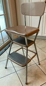 VINTAGE COSCO METAL STEP STOOL CHAIR With Lift Seat