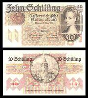 AUSTRIA 10 SCHILLING 1946 PICK # 122 BANKNOTE