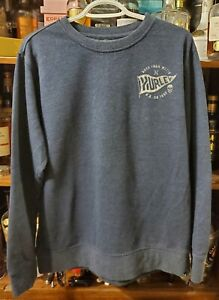 Hurley Long Sleeve Pullover Sweater Size L Born From Water w Flag & Skull