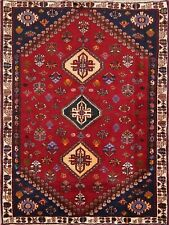 Vegetable Dye Abadeh Nafar Tribal Persian Area Rug Oriental Hand-made RED 4'x5'