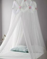 Princess ROSES Ruffle Princess White Bed Canopy FREE SHIPPING FROM USA