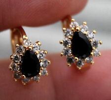 18K Yellow Gold Filled - Flower Waterdrop Black Onyx Topaz Women Hoop Earrings