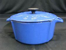Vintage Chantal 3.75 Qt. Dutch Oven Pot Blue Enameled Cast Iron w Lid-A0181