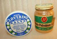 A&P White Petroleum Jelly .4 oz & WHITE CLOVERINE salve Tin 1 oz