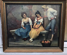 1930s  ITALIAN IMPRESSIONIST OIL PAINTING OF FIGURES IN VENICE signed S.Maresca