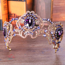 Baroque Vintage Purple Crystal Rhinestone Wedding Crown Bridal Queen Tiara