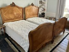 More details for 2 x french antique single beds oak or mahogany not sure. with mattresses