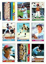 1979 TOPPS BASEBALL Key cards, $1.00 and up, GD TO EX