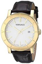 Versace Mens VQB030000 Acron White Dial Gold IP Stainless Steel Date Brown Watch