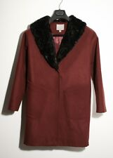 ASOS Relaxed Fit Burgundy Coat with Black Faux Fur Collar - UK 8