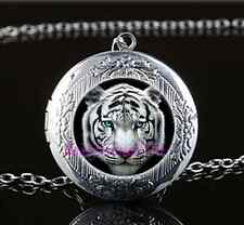 White Tiger Head Photo Cabochon Glass Tibet Silver Locket Pendant Necklace