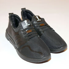NEW!-Men's size 44 (USA 10.5) Plover solid black slip on athletic running shoes
