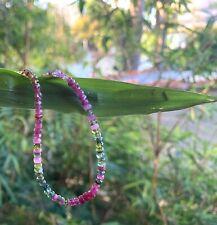 multi gemstone bracelet tourmaline ruby layer beaded real gems simple 14k gold