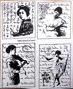 Vintage Collage Ladies Stamps - Red Rubber - Unmounted - Stampinback