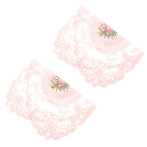 2pcs Elegant Embroidered Lace Coasters Lace Table Mats Embroidered Placemats