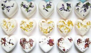 30 x MINI BATH BOMB FLORAL ESSENTIAL OIL HEARTS - WEDDING FAVORS OR HOME USE