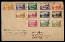 DR WHO 1947 NORFOLK ISLAND FDC ANIV COMBO  Lf30106