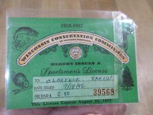 Vintage 1956 57 Wisconsin Sportsmen's License  >