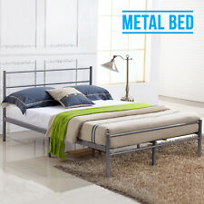 4FT6 Double Bed Frame Strong Metal Solid Modern Stylish Bedstead Silver Base