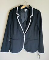 Crown & Ivy Blazer Women's Size 14 Black And White Suit Jacket New With Tags NWT