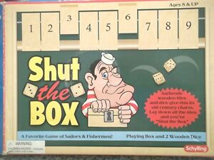 Shut The Box Game by Schylling Wood Dice Green Felt Wood Box