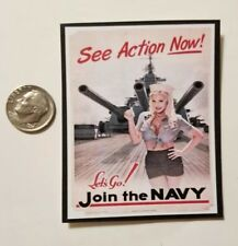 "1 Miniature Playscale Gi Joe Pin up Girl Poster 3"" Military  World War II Navy"