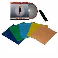 Workoutz Flat Resistance Band Set With Dvd & Door Anchor Workout Exercise Bands