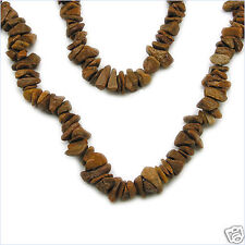 "294.00ctw GENUINE CAMEL AGATE Chips Beads 36"" NECKLACE"