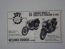 advertising Pubblicità 1969 MOTO MV AGUSTA 250/600