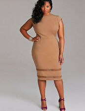 Ladies Dress Khaki Sz 3XL Knee Length See-Thru Bands BNWT