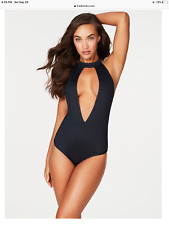 NWT Fredericks Of Hollywood - Swimsuit - Low plunge TROPEZ - BLACK size : LARGE