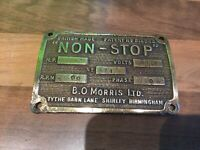 "Collectable ""B O Morris Ltd"" Cast Brass Ships Engine Room Plaque Maritime Marine"