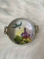 "Antique ""M""  Nippon Hand Painted Candy/Nut Dish Bird Fruit Gold Trim Handles"