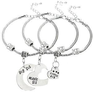 UK 3 Pcs Silver Plated Heart Moon Big Middle Little Sis Sister Bracelets Bangle