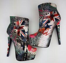ROSETTE Heels Platform Stiletto Boots High Sexy Club ELLE54 Size 8 UK Punk Rock