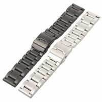 22 24 26mm Solid Stainless Steel Mens Watch Band Black/Silver Strap Safety Clasp