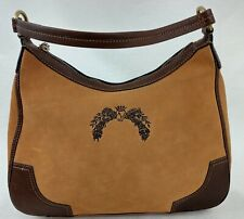 Antonio Melani Womens Hobo Shoulder Bag Camel Leather Suede Trim Leather Zipper