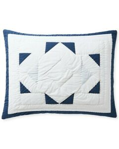 NWT $98   Serena & Lily Sweetwater King Sham   Navy Blue White Cotton Quilt