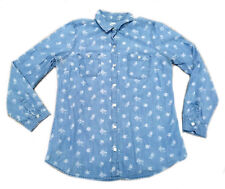 Old Navy Womens Shirt MEDIUM Denim Long Sleeve Button Up Light Blue Rose Pattern