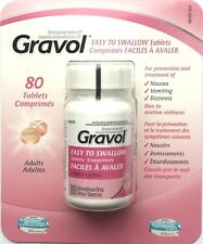 Gravol Easy to Swallow Tablets. 80 Tablets 50 Mg. For Nausea Vomiting Dizziness