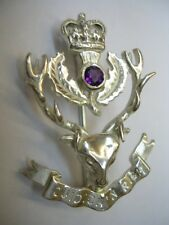 New 925 Sterling Silver and Amethyst QUEEN'S OWN HIGHLANDERS QOH Brooch Kilt Pin
