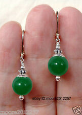 Super beautiful real green jade gemstone bead Silver hook Earrings AAA