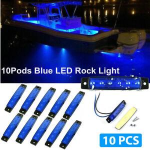 10 Blue LED Pods Rock Underbody Wheel Lights For Jeep Offroad Truck UTV ATV Boat
