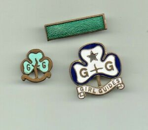 THREE VINTAGE GIRL GUIDE  PIN BADGES