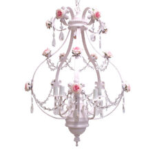 White With Pink Roses And Crystal Accents 5 Light Chandelier
