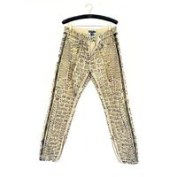 NWT Ralph Lauren Textured/Embroidered Metallic Gold And Black Jeans Tan Sz 30
